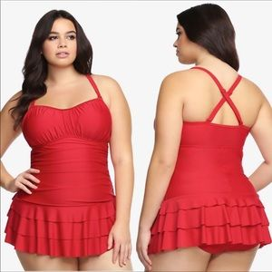 Torrid Skirted Red One Piece Swim Suit 1X